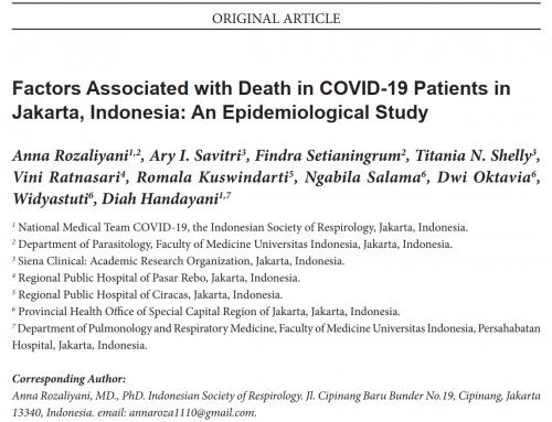 Tim Peneliti FKUI, Dinas Kesehatan, dan RSUD Temukan Faktor-Faktor yang Berhubungan dengan Kematian pada Kasus COVID-19 di Jakarta